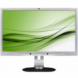 Monitor LED Philips 241P4QPYKES/00, 24 inch, Full HD, VGA, DVI-D, DisplayPort, 3x USB 2.0, Webcam 2MP, Boxe 2x 1.5W (Negru/Argintiu)