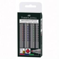 Marker Flipchart Grip set 4 culori Faber-Castell