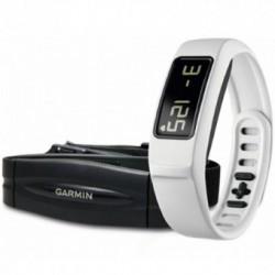 Accesoriu telefon mobil Garmin Bratara electronica Vivofit 2 + Heart Rate Monitor, Digital LCD, Bluetooth, Accelerometru, Rezistenta la apa, Alb